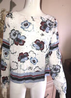 M&S Collection Floral Stars pretty ivory floral long sleeve tunic. Size 14