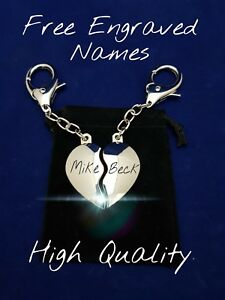 Anniversary Keyring Set - Free Engraved Names Valentine Gift His Hers Gift