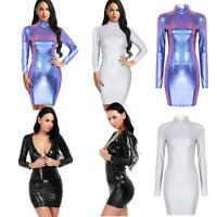 Women Wetlook Metallic Night Club Mini Dress Long Sleeves Party Short Slim Dress