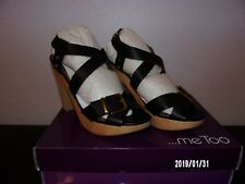 Me Too Ebony6 Platform Strappy Sandals Black 11M NIB heel 4.5 inch soft Vacchet
