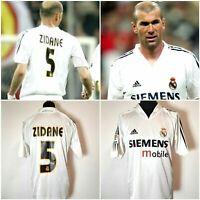 Jahrgang Real Madrid Zidane Trikot 2004-2005 L Adidas Home White Camisa Siemens