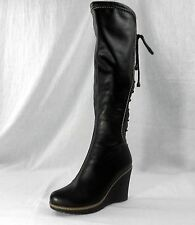 NIB Monroe & Main Back Lace-Up Wedge Tall Boots BLACK Knee-High size 6.5M