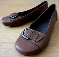 Hotter Comfort Concept DARCEY Ladies Ballerina Brown Leather Shoes Size UK 4.5
