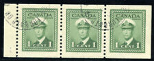 Canada 1942 KGVI War Effort 1c green booklet pane of 3 VFU. SG 394a Sc 249c.