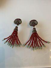 "Heidi Daus, Clip On Gemstone 4-1/2"" Stunning Dangle Earrings"