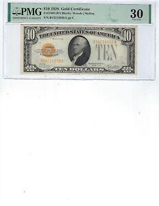 1928 $10 Gold Certificate FR2400 PMG 30 VF!!! Woods/Mellon, BA Block!!!