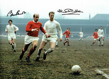 Bobby & Jack Charlton FIRMATO FOOTBALL CLUB 16x12 Autografo foto AFTAL COA