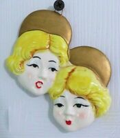 Vintage Two Blonde Ladies Ceramic Ornament  Beret Hat Wall Hanging Hand Painted