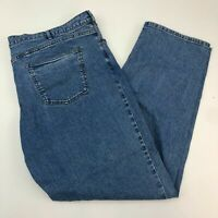 TravelSmith Denim Jeans Mens 44X32 Blue Straight Leg Cotton Blend Medium Washed