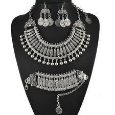 Bohemian Gypsy Vintage Silvery Festival Necklace Bracelet Earring Jewelry VL