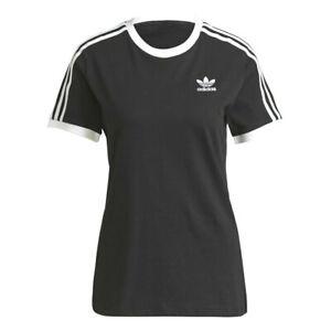 Adidas T-shirt Adicolor Classics 3 Stripes Donna Nero Maglietta Regular Strisce