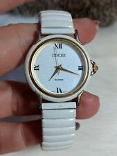DEMORE WOMENS WHITE & GOLDTONE WATCH-EXPANSION BAND-SPARKLES ON BAND & FACE