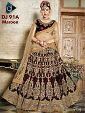 Maroon Silk Lehenga Choli Bollywood Ethnic Designer Party Indian Saree Wedding
