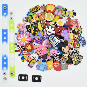 US STOCK 100PCS Mixed Random Shoe Charms PVC Lot Shapes Fit Clog for Party Favor