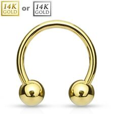 14K Solid GOLD Horseshoe Circular Barbell Rings NOSE EAR NIPPLE Piercing Jewelry
