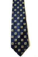VALENTINO Krawatte Schlips Tie dunkelblau / gold kariert 100% Seide Luxus (I3/5)