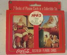 1995 COCA COLA COKE CHRISTMAS NOSTALGIA PLAYING CARDS 2 DECKS IN TIN