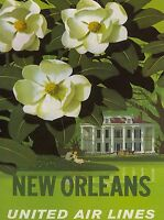 New Orleans Louisiana United States Airline Vintage Travel Advertisement Poster