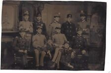 Tintype with 11 Uniformed Soldiers Officers & Non-Coms  Civil War?