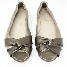 AGL Attilio Giusti Leombruni Gold 37 Peep Toe Metallic Twisted Leather Flats