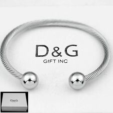 "Silver*Adjustable Cuff Cable*Bracelet Unisex*Box Dg Men's 6.5"" Stainless Steel"