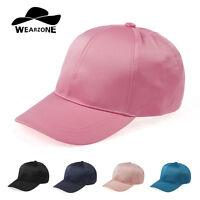 Unisex Satin Baseball Hat Plain Adjustable Snapback Fitted Sports Cap Visors New