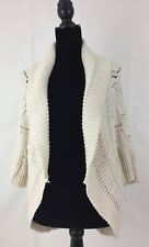 Pure Hand knitted Ecru Sweater Cardigan Size Small Medium 100%