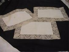 3 Pieces Antique Placemats Hand Crafted Lace Trim Gutzon Borglum Provenance wow