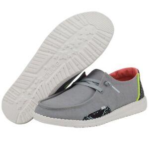 Hey Dude Wendy Snake Linen Steel Grey Women's Lightweight Shoes Slip On Casual