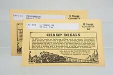 LOT OF 2 CHAMP O GAUGE CN-101 VIRGINIA STOCK CAR DECAL