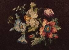 Elegant Vintage Floral & Burgundy Finished Completed Pillow Top Wool Needlepoint