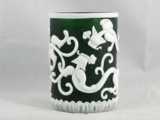 BEAUTIFUL VINTAGE CHINESE GREEN PEKING GLASS BRUSH POT QIANLONG PERIOD MARK