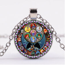 NEW Cabochon Glass necklace Silver/Bronze/Black pendant(Cartoon princess
