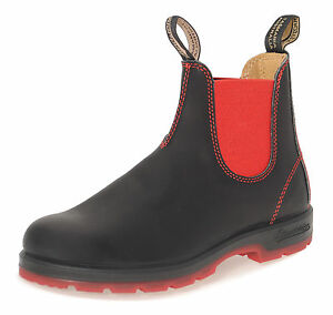 Blundstone 1316 Premium Leather Australian Chelsea Boots - Black Red Ankle Boots