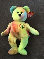 Peace the Bear - Rare Beanie Baby 1996 First Edition Showcase Quality Ty Babies