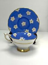 Royal Stafford England BLUE &  White Floral Fine Bone China Tea Cup & Saucer Set