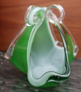 retro vintage green white clear hand blown glass HANDKERCHIEF VASE Japan sticker