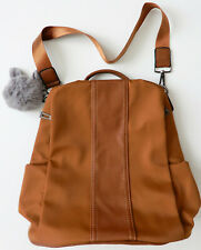 Tobacco Brown Backpack / Faux Fur Bag Charm / Multiple Pockets / Nylon Polyester