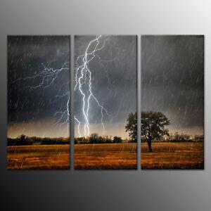 Lightning Nature HD Canvas Art Print Painting Wall Art Home Decor 3pcs-No Frame