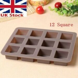 Hot Silicone Baking Mould Cake Mold Chocolate Tray 12 squares t~