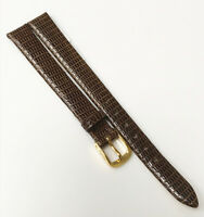 Speidel Classic Lizard Leather Germany Brown Tone 10mm Gold Buckle Watch Band