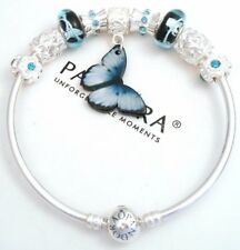 Authentic Pandora Silver Bangle Bracelet With Butterfly Heart European Charms