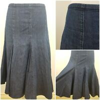 Per Una M&S Blue Denim Jean Style Midi Skirt Fit and Flare Size 12 Casual Boho