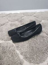 Prada Ballet Flats Black Suede Leather Patent Trim Bow 37