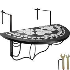 Tavolino da Balcone Mosaico ribalta Terrazza Tavolino Parete pieghevole nero-bia