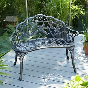 Grey Cast Iron Garden Bench Metal Frame 2 Seater Patio Chair Outdoor Seating