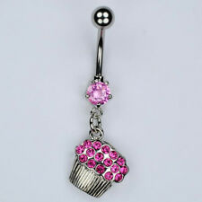 Cupcake Dangle Belly Button Ring Bar PINK Muffin Foodie Piercing Jewelry (A18)