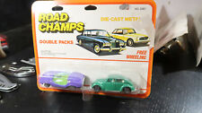 Yatming Road Champs CARDED 2 Pack Adams Probe 16 Volkswagen Bug Beetle GREEN