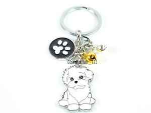 Cute White Shihpoo Puppy Dog Keyring Gift Poodle Shihtzu Bichon Puppy Keychain