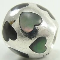 Pandora Sterling Silver Love Me Charm Bead Black Mother of Pearl Heart 790398MPB